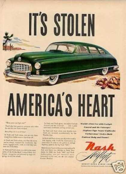 "Nash Airflyte Car Ad ""It's Stolen America's... (1949)"