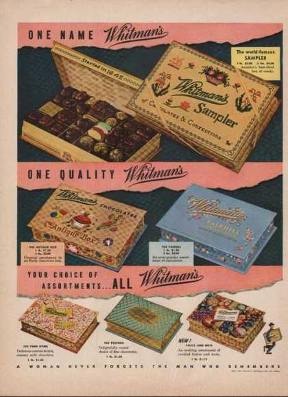 One Name Whitmans Chocolate Candy (1949)