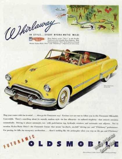 Yellow Oldsmobile Convertible Car (1948)