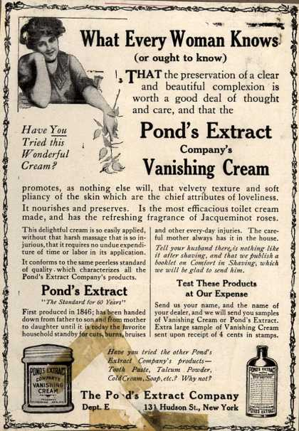 Pond's Extract Co.'s Pond's Vanishing Cream – What Every Woman Knows (1911)