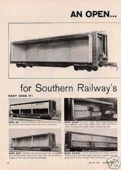 Southern Railway 2 Page Ad All-door Lumber Cars (1963)