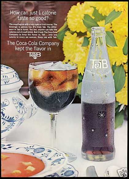Tab 1 Calorie Bottle Coca Cola Coke Products (1964)