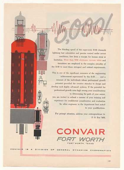 Convair Fort Worth B-58 Electronic Vacuum Tubes (1958)