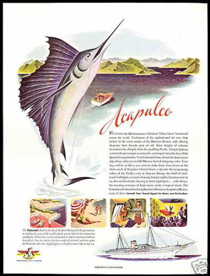 Corsair Cruise Ship Acapulco Sailfish Art (1947)