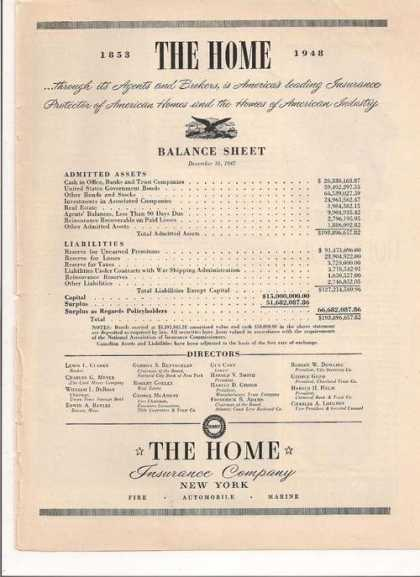 The Home Insurance Co New York (1948)