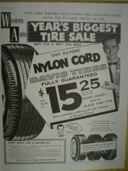 Western Auto Davis Nylon Cord Tires. Years biggest tire sale (1958)