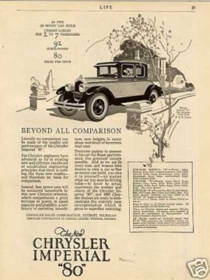 "Chrysler Imperial ""80"" Car Ad ""Beyond All... (1926)"