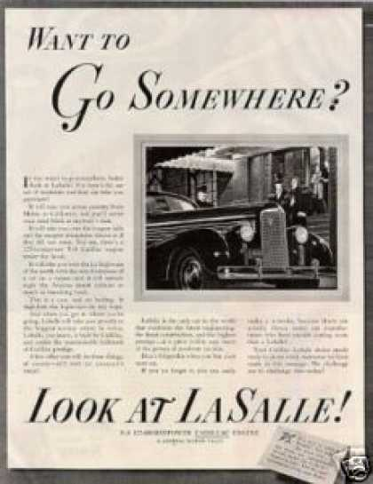 "Lasalle Car Ad ""Want To Go Somewhere... (1938)"