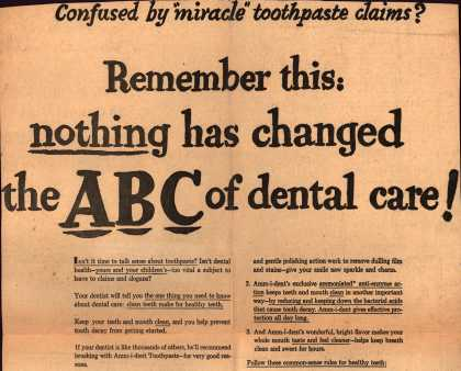 Unknown's Amm-i-dent Tooth Paste – Remember this: nothing has changed the ABC of dental care (1957)