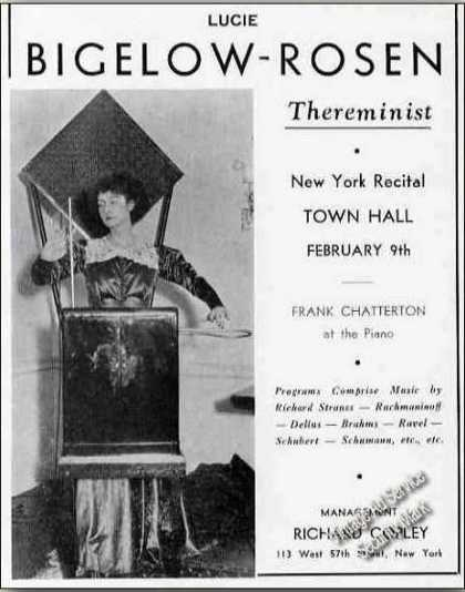 Lucie Bigelow-rosen Photo Thereminist Booking (1936)