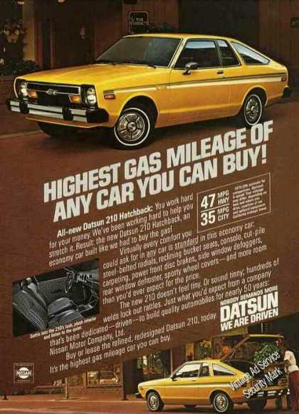 "Datsun ""Highest Gas Mileage of Any Car"" (1979)"