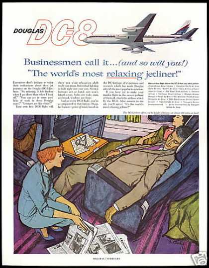 Douglas DC8 DC-8 Plane Stewardess Print Art (1960)