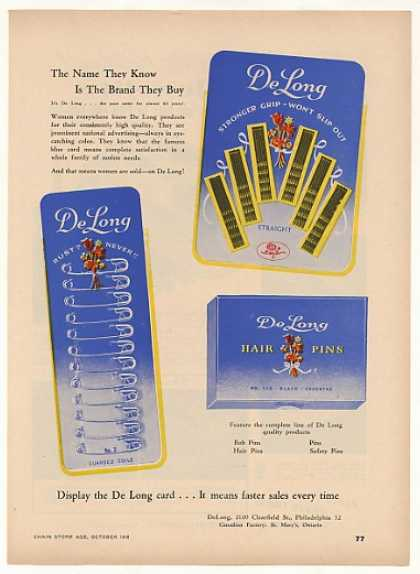 De Long Bob Pins Hair Pins Safety Pins Trade (1948)