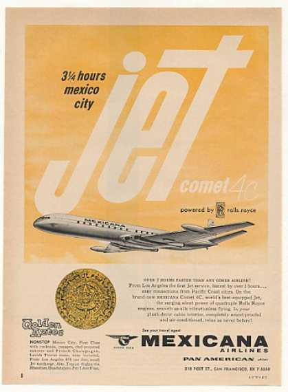 Mexicana Airlines Comet 4C Jet Golden Aztec (1960)