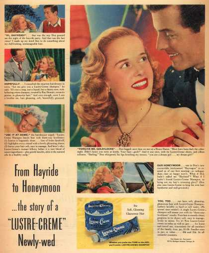 "Kay Daumit's Lustre-Creme Shampoo – From Hayride to Honeymoon... the story of a ""Lustre-Creme"" Newly-wed. (1948)"
