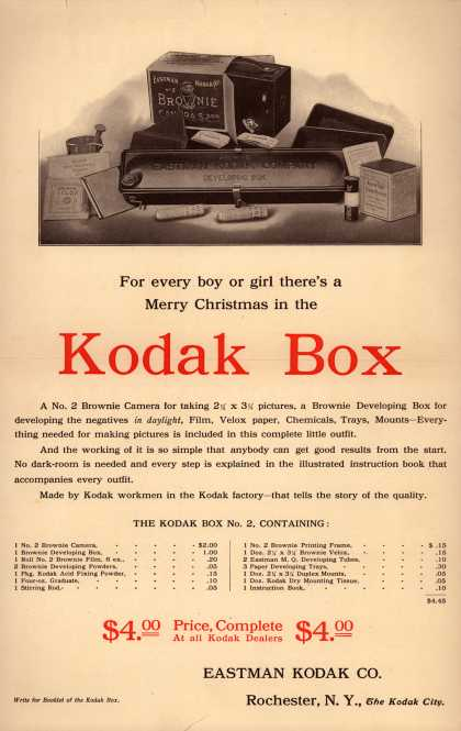 Kodak – For every boy or girl, there's a Merry Christmas in the Kodak Box. (1906)