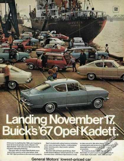 Buick's Opel Kadett On Dock German Ship (1967)