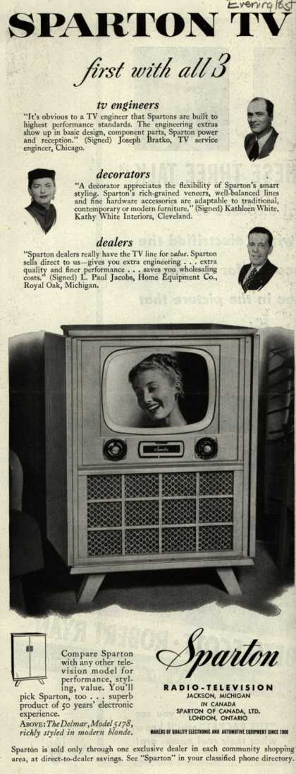 Sparton Radio-Television's Television – Sparton TV first with all 3 (1951)