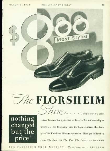 The Florsheim Shoe Art Deco Ad $8.00 Most Styles (1932)