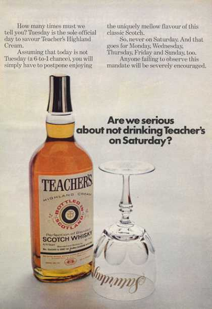 Teachers Scotch Whisky Bottle (1971)
