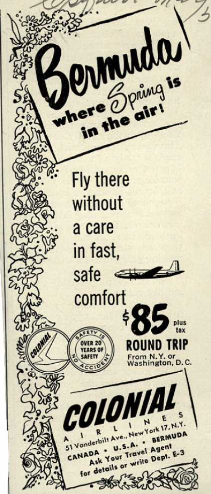 Colonial Airline's Bermuda – Bermuda... where Spring is in the air (1951)