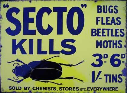 Secto Kills Bug Killer – Insecticide Enamel Sign