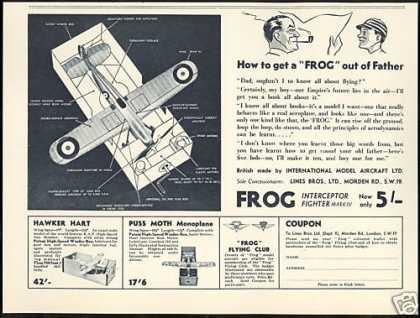 Frog Interceptor Hawker Model Airplane UK (1935)
