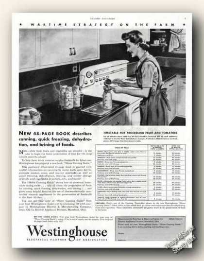 Westinghouse Electric Home Canning Timetable (1943)