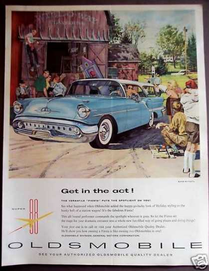 Light Blue Oldsmobile Fiesta Classic Automobile (1957)