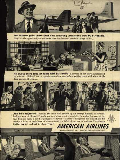 American Airlines – Bob Watson gains more than time traveling American's new DC-6 Flagship. (1948)