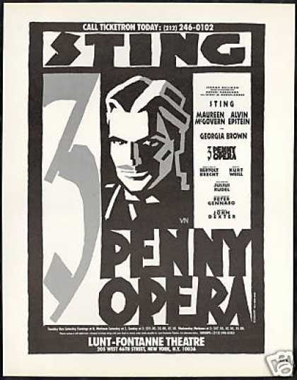 Sting 3 Penny Opera New York Theater Lunt (1989)
