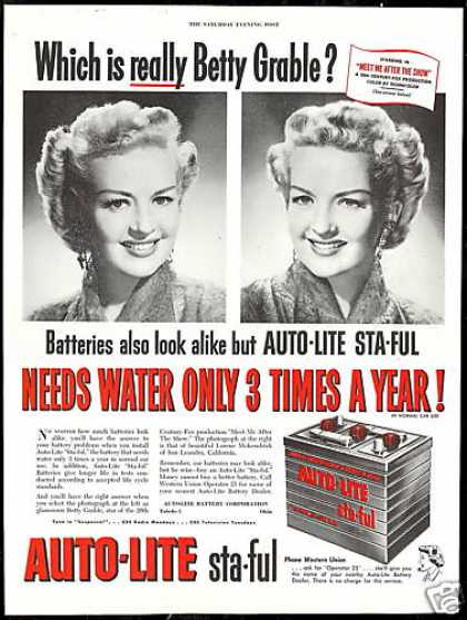 Betty Grabble Photo Auto Lite Battery Vintage (1951)