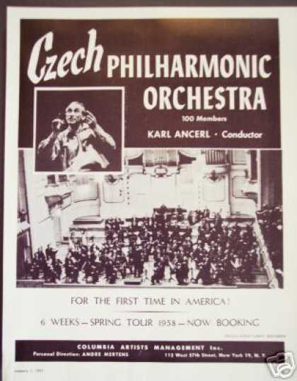 Czech Philharmonic Orchestra 1s Us Tour Booking (1957)