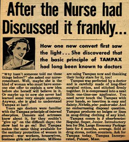 Tampax's Tampons – After the Nurse had Discussed it frankly... (1943)