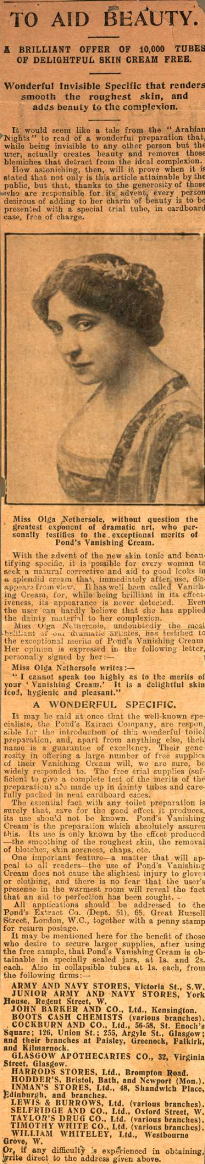 Pond's Extract Co.'s Pond's Vanishing Cream – To Aid Beauty. (1910)
