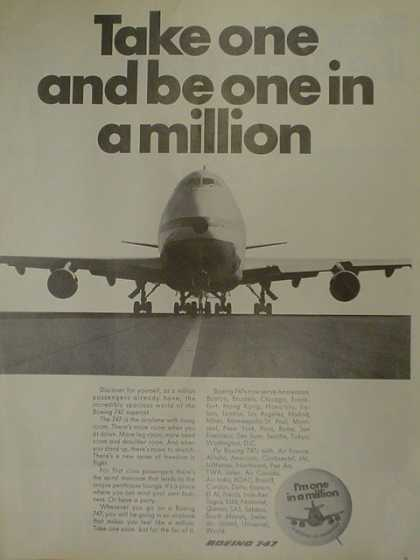 Boeing 747 Airplane. Take one and become one in a million (1970)