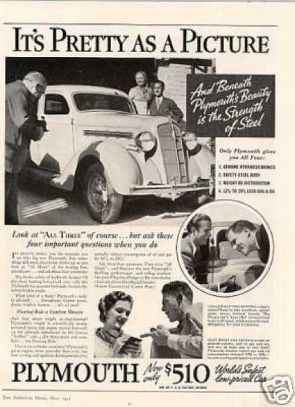 "Plymouth Car Ad ""It's Pretty As a Picture... (1935)"