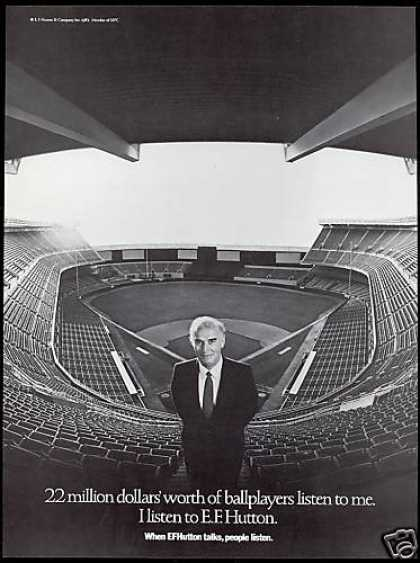 EF E.F Hutton Talks I Listen Baseball Stadium (1983)