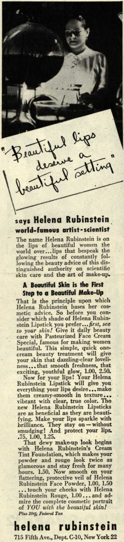 "Helena Rubinstein's Various – ""Beautiful lips deserve a beautiful setting"" (1945)"
