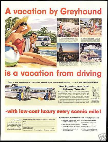 Greyhound Bus Travel Driving Vacation (1955)