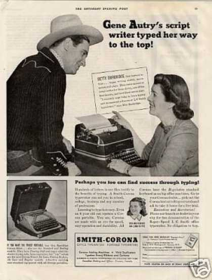 Smith-corona Typewriter Ad Gene Autry (1941)