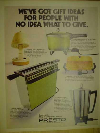 Presto appliances. Gift ideas for people with no idea (1971)