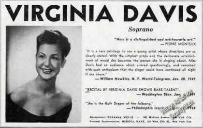 Virginia Davis Photo Soprano Booking (1949)