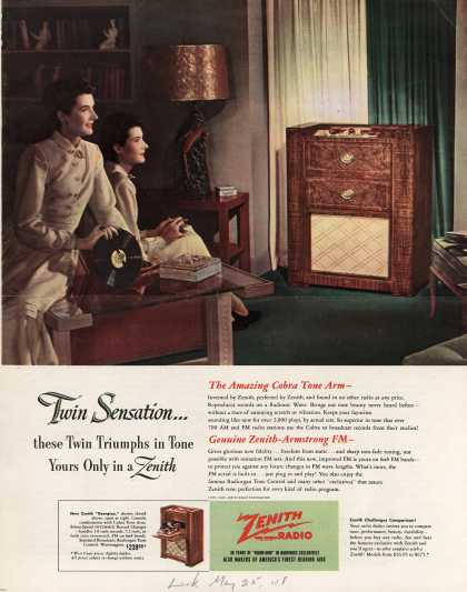 "Zenith Radio Corporation's ""Georgian"" console combination – Twin Sensation... these Twin Triumphs in Tone Yours Only in a Zenith (1948)"