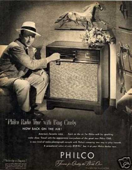 Philco 1260 Radio Ad Bing Crosby (1947)