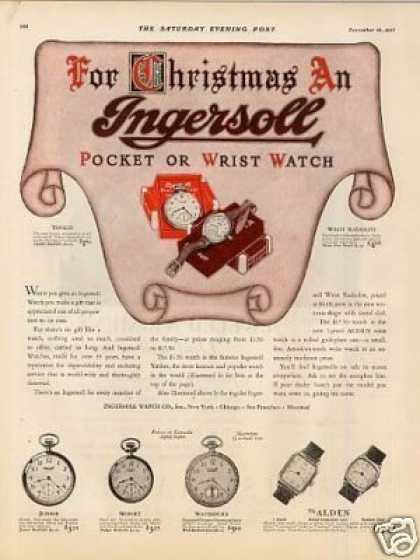 Ingersoll Watches Color Ad 2 Page (1927)
