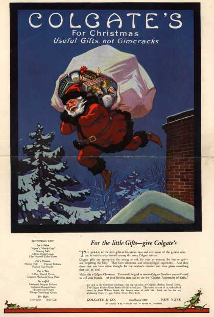 Colgate & Company – Colgate's For Christmas. Useful Gifts, not Gimcracks. (1920)