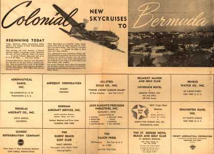 Colonial Airline's Bermuda – Colonial New Skycruises to Bermuda (1947)