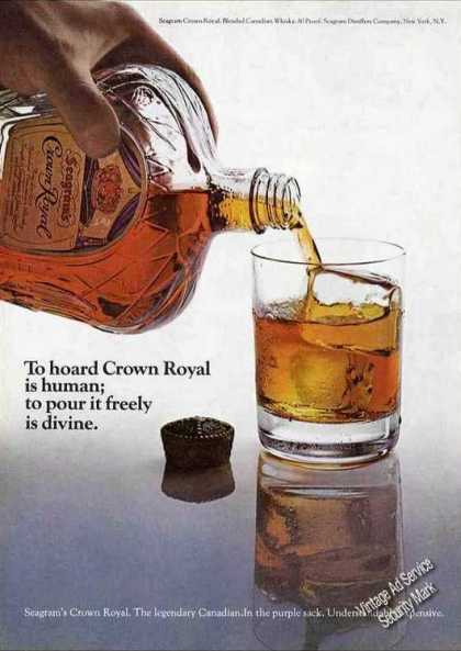 "Crown Royal ""To Pour It Freely Is Divine"" (1971)"
