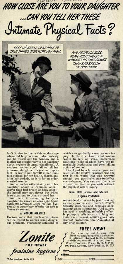 Zonite Products Corp.'s Douche – How Close Are You To Your Daughter...Can You Tall Her These Intimate Physical Facts? (1950)